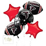 Andaz Press Balloon Bouquet Party Kit with Gold Cards & Gifts Sign, Falcons Football Themed Foil Mylar Balloon Decorations, 1-Set (Color: Sports Falcons)