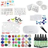 Frenshion 5 Pieces 30ML Crystal Epoxy Resin UV Glue,1 Pcs Mini UV LED Lamp, 1 Tweezer 3 Kit Set Decoration, 9Pcs Transparant Silicone Mould ForHandcraft Jewelry Earrings Necklace Bracelet Nail Art (Tamaño: SET)