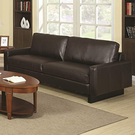 Ava Contemporary Brown Bonded Leather Sofa with Platform Legs