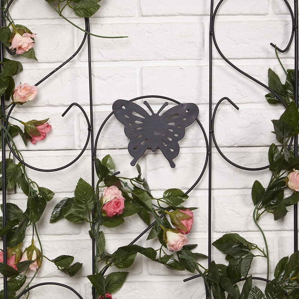 """Amagabeli 60"""" x 18"""" Rustproof Black Iron Butterfly Garden Trellis for Climbing Plants Potted Vines Vegetables Vining Flowers Patio Metal Wire Lattices Grid Panels for Ivy Roses Cucumbers Clematis Pots"""