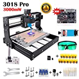 3000mW Laser Engraver CNC 3018 Pro GRBL Control Engraving Machine, 3 Axis PCB Milling Carving Machine CNC Router Kit with Offline Controller (3000mW) (Tamaño: 3018 Pro + 3000mW Laser)
