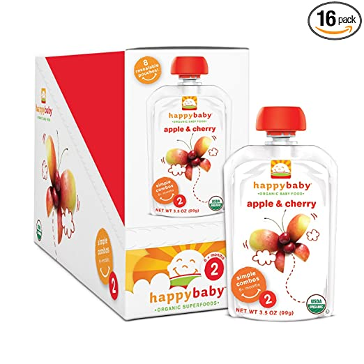 Happy Baby Organic Baby Food 2 Simple Combos, Apple & Cherry, 3.5 Ounce (Pack of 16)