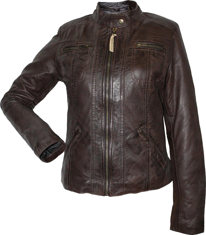 Damen Lederjacke Trend Fashion echtleder Jacke aus Lamm Nappa Leder dunkelbraun günstig online kaufen
