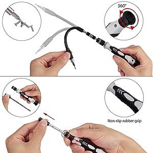 Justech Precision Screwdriver Set Professional Electronics Repair Tool Kit for Repairing PC MacBook Pad Laptop Watch Glasses Smartphone (Grey 121 Kits) (Tamaño: Grey 121 Kits)