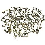 70pcs Skeleton Antique Keys Vintage Bronze Pendants Old Fashion Decor Gift
