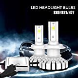880/881/H27 LUMILEDS LED Automobile Headlight Bulbs with Advanced PHILIPS LED Chip and All-in-One Conversion kit-50W/12,000LM/6,000K (Color: cool white, Tamaño: 880/881/H27)