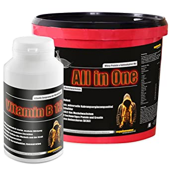 All in One 2,6kg Himbeere+Vitamin B12 100 Kaps.! Muskelaufbau Aminosäure Anabol Eiweiß Wheyprotein Molkenprotein