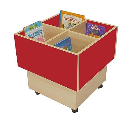 Mobeduc 602103HR10 libreria-Secchio per bambini, in legno, colore: rosso ciliegia/faggio, 60 x 60 x 60 cm