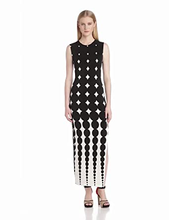 KAMALIKULTURE Women's Shift Maxi Gown with Slit, Black/Off-White Ombred Dots, Small