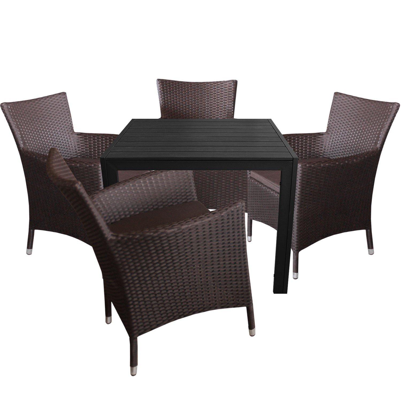 5tlg. Gartengarnitur Aluminium Gartentisch 90x90cm mit Polywood Tischplatte Polyrattan Gartensessel inkl. Sitzkissen Braun