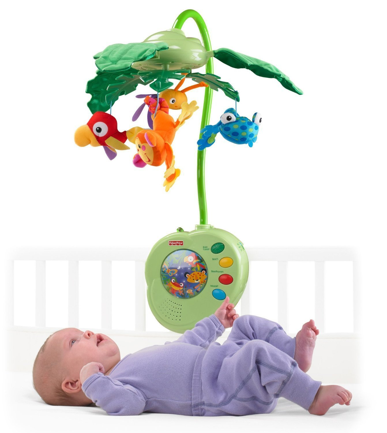 Baby bed mobile - Fisher Price Musical Mobile Rainforest Peek A Boo Leaves