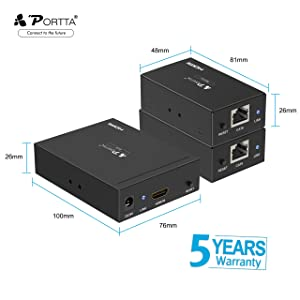 Portta HDMI Extender, Portta HDMI Splitter 1 in 2 Out Over Single UTP CAT5e/6 LAN Cable up to 50m(164ft) HDMI Splitter Amplifier Support 1080P@60Hz 3D for HDTV PS3 PS4 Xbox (Color: No, Tamaño: HDMI Splitter)