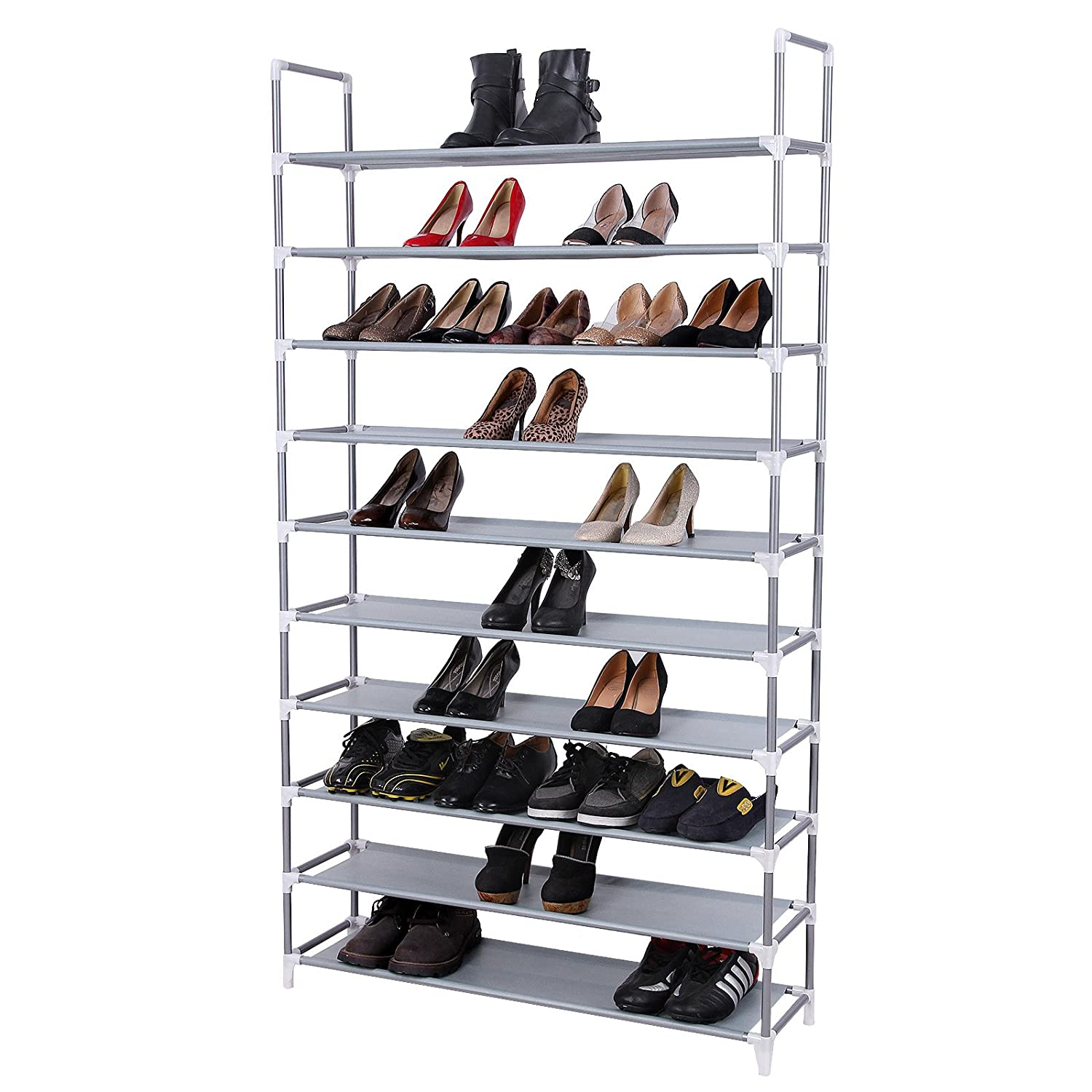 SONGMICS 10 Tiers Shoe Rack 50 Pairs Non-woven Fabric Shoe Tower Storage Organizer Cabinet 39.4 x 11.1 x 68.9 Inches ULSR10G