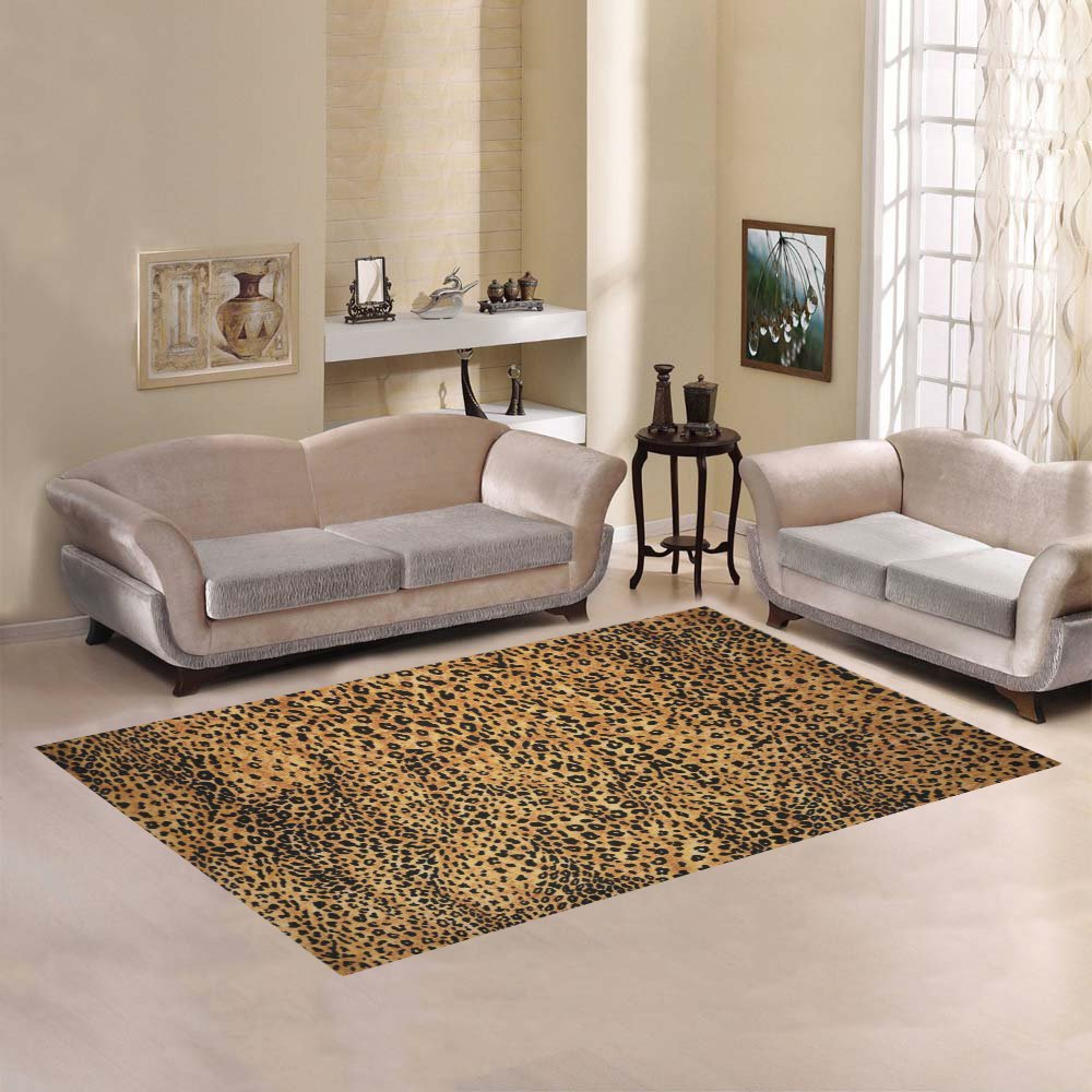 InterestPrint Home Decoration Brown Leopard Print Area Rug 7 x 5, Animal Fur Print Carpet Rugs Cover Carpet for for Home Living Dining Room