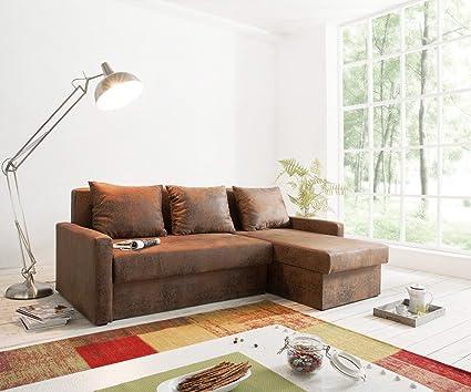 Couch Avondi Braun 220x147 Antik Optik Schlaffunktion Ottomane variabel