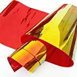 ZAIONE PVC Holographic Clear Film Holographic Transparent Vinyl Mirrored Foil Laser Graphic Fabric for Shoes Bag Sewing Patchwork DIY Bow Craft Applique Wide 37