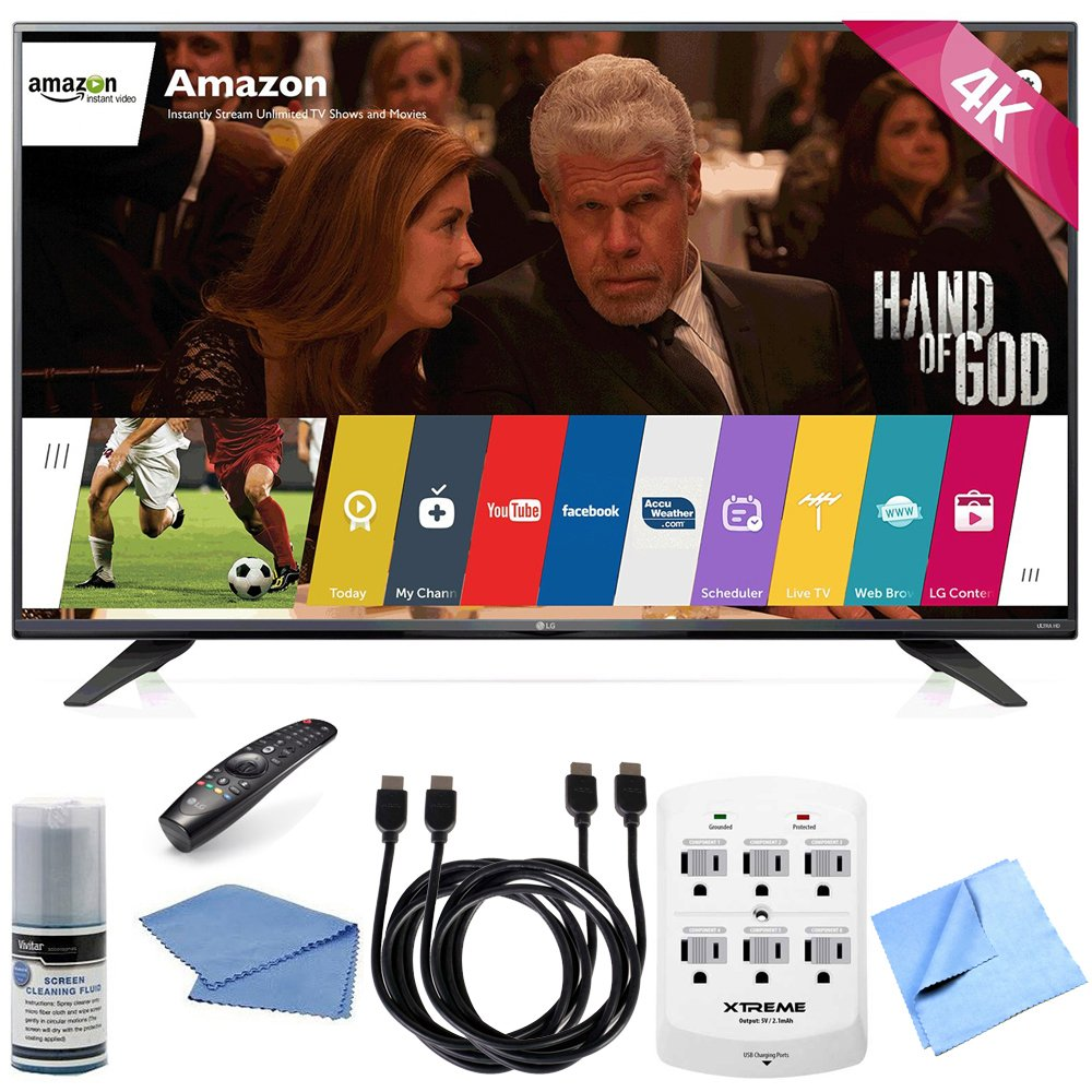 LG 55UF7600 - 55-inch 2160p 120Hz 4K Ultra HD Smart LED TV w/ WebOS Hook-Up Bundle includes 55UF7600 - 55-Inch 2160p 120Hz 4K LED HDTV, Screen Cleaning Kit, HDMI to HDMI Cable 6