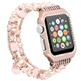for Apple-Watch Band Bracelet 42mm with Bling Rhinestone Metal Case Handmade Elastic Wrist Band Strip Replacement for iWatch All Series 3,2,1(Rose Gold) (Color: Pink, Tamaño: 42 mm)