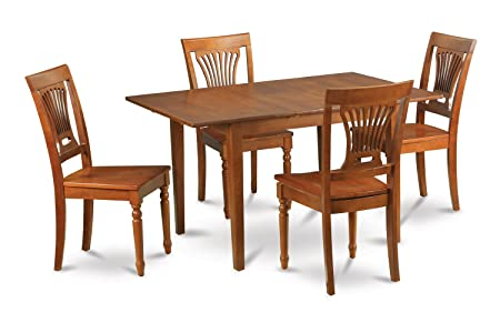 East West Furniture MLPL5-SBR-W 5-Piece Kitchen Nook Dining Table Set