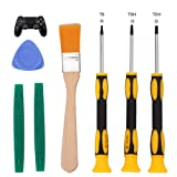 T6 T8 T10 Screwdriver Tool Set for Xbox One Xbox 360 Controller and PS3 PS4 Console Repair Security Screw Driver with 2 Spudger Pry Bars, 1 Cleaning Brush and 1 Triangle Paddle