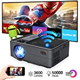 Portable Mini Projector Bluetooth WiFi, Wireless Pico Micro Video Projector Andriod 6.0 Home Theater Airplay Miracast, 3200 lumen Support 1080p HDMI USB LCD LED Full HD Proyector Gaming Outdoor Movie (Color: bluetooth wireless portable projector)