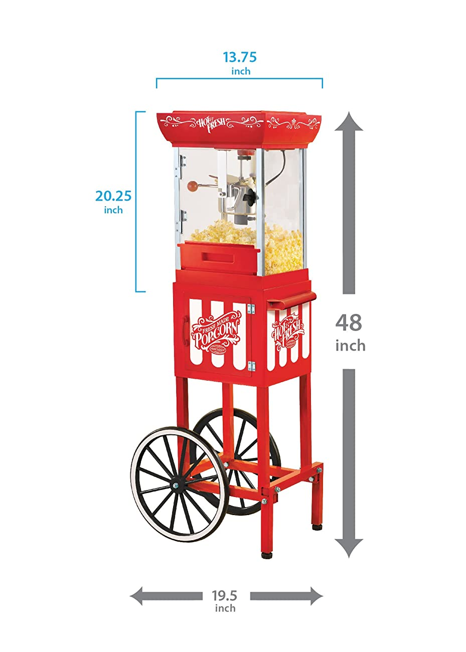 Nostalgia CCP399 48-Inch Tall Vintage Collection 2.5-Ounce Kettle Popcorn Cart 3