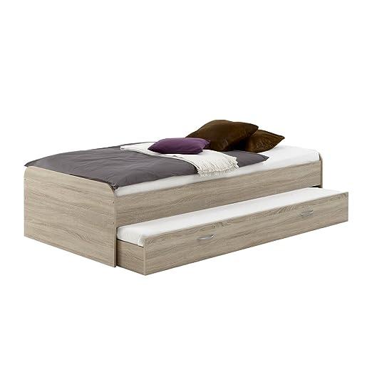 PEDRO 4 Bett von FMD mit ausziehbarer Gästeliege Eiche