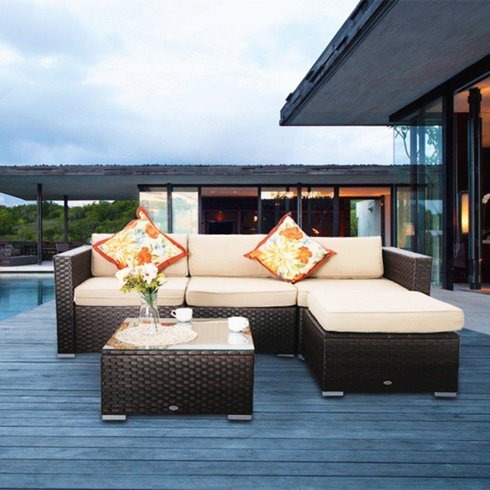 PHI VILLA 5-Piece Outdoor Rattan Sectional Sofa- Patio Wicker Furniture Set, Beige