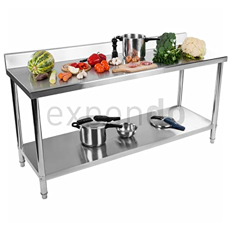 Royal Catering RCAT-200/60-S Desk 200 x 60 cm Stainless Steel with Upstand 20 mm HDF Boards Height-Adjustable Feet