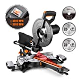 Miter Saw, TACKLIFE 15 Amp 10-Inch Sliding Compound Miter Saw with 3 Blades, Double Speed (4500 RPM & 3200 RPM), Bevel Cut (0°-45°) with Laser, Extension Table, Chip Bag, Iron Blade Guard - EMS01A (Tamaño: Multifunctional Miter saw)