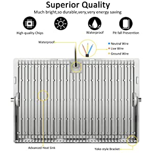 Heilsa 500W LED Flood Light, 55000LM 6000-6500K (Cold White) IP67 Waterproof Super Bright Outdoor Floodlight for Garden Yard, Party, Lawn, Playground, Basketball Court (Color: 500w Cold White, Tamaño: V)