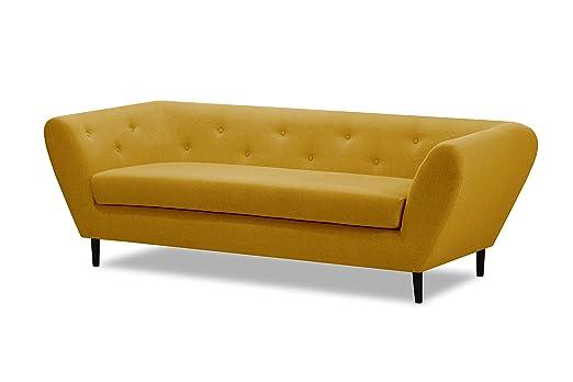 MIKITOO design Garbo Canapé de 3 Places Fixé, Tissu, Moutarde, 224 x 90 x 74 cm