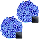 Vmanoo Solar Christmas Lights, 72ft 22m 200 LED 8 Modes Solar String Lights for Outdoor, Indoor, Gardens, Homes, Party, Wedding, Halloween Decorations, Waterproof (Blue-2 Pack) (Color: Blue 2pack)