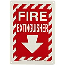 Brady White On Red Color Fire Sign, Legend &#034;Fire Extinguisher With Picto&#034;