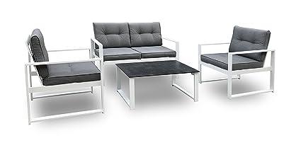 Slaap - Conjunto de jardín en KIT (viene desmontado) compuesto por: 1 Sofá, 2 Sillones y 1 mesa de centro.