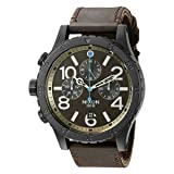 Nixon Men's A3632209 48-20 Chrono Leather Analog Display Japanese Quartz Brown Watch (Color: Black/Brass/Brown)