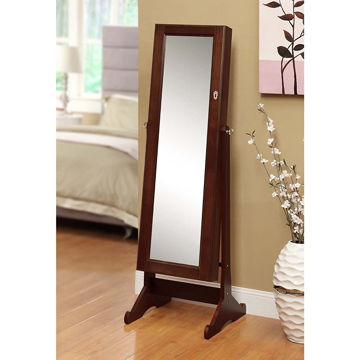 Btexpert® Stylish Wooden Jewelry Armoire Cabinet Stand Organizer Storage Box Case Cheval Mirror - Cherry