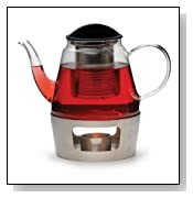 RSVP Glass Teapot With Infuser and Stainless Steel Warmer