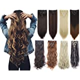 Lelinta 7Pcs 16 Clips Thick Curly Straight Full Head Clip In Double Weft Hair Extensions (Color: Dark Brown to Silver Grey-curly, Tamaño: 24 Inch-160g)