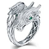 Vintage Design Glamor Jewelry 18kt White Gold Diamond Dragon And Phoenix Ring