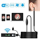Wireless Otoscope, Duyoi Ear Scope, 1.3 Megapixels USB Ear Cleaning Endoscope, Waterproof Inspection Camera with 6 Adjustable LED Lights for iPhone, Android and Windows (Color: Black)