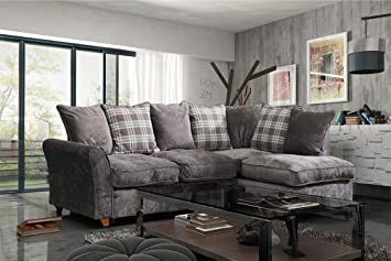 Lovesofas New Jasper Fabric Corner Sofa with Scatter Cushions - Nutmeg (Right Chaise)