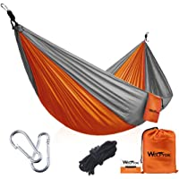 Wolfyok Portable Camping Hammock (Orange/Gray or Blue/Brown)
