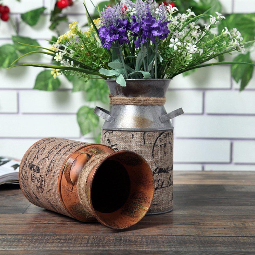 Retro Style Primitive Jug Vase Milk Can