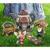 LA JOLIE MUSE Fairy Garden Gnome Accessories Kit - Hand Painted Miniature Teapot Fairy House Figurine Set of 6 pcs, Gift for Girls Boys Adults, Indoor Outdoor Yard Lawn Decoration (Color: Fairy&Gnome, Tamaño: Fairy Gnome Set 6)