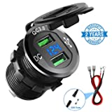 Quick Charge 3.0 Car Charger, CHGeek 12V/24V 36W Aluminum Waterproof Dual QC3.0 USB Fast Charger Socket Power Outlet with LED Digital Voltmeter for Marine, Boat, Motorcycle, Truck, Golf Cart and More (Color: Black, Tamaño: Dual QC3.0 Ports)