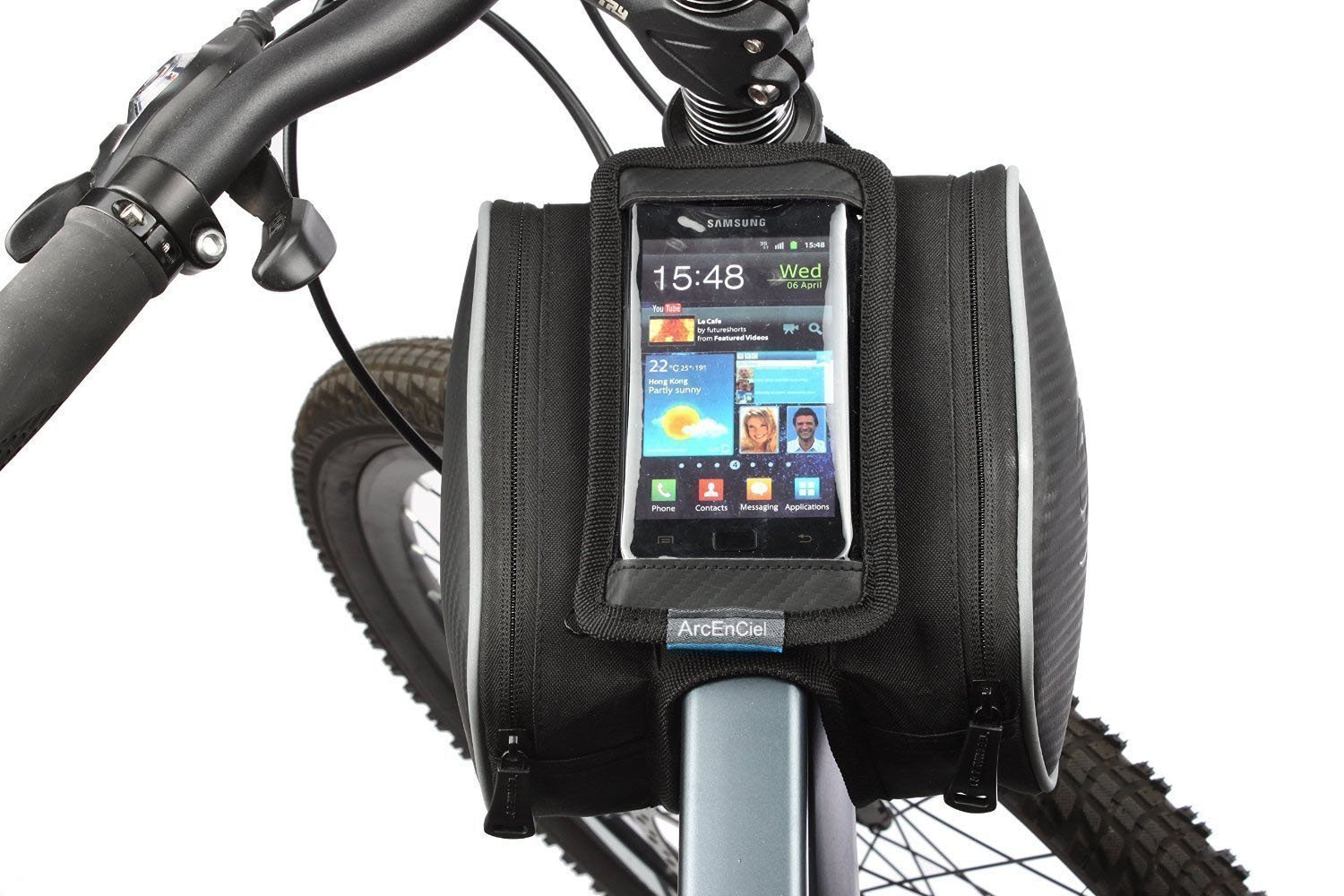 """ArcEnCiel Mountain Road Bike Bag Touchscreen Bicycle Pack Double Pouch Cycling Front Frame Tube Bag Pannier For ≤ 5.5"""" Phone"""