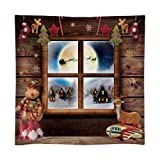Funnytree 8x8FT Durable Fabric Soft Christmas Night Window Photography Backdrop Xmas Village Toy Pajama Party Decoration Winter Children Background Photo Booth Washable (Tamaño: 8'x8')