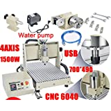4 Axis USB 1.5KW VFD 6040 CNC Router Engraver Engraving Drilling Milling Carving Machine 3D Cutter Desktop DIY Artwork Woodworking (without Remote Controller) (Color: without Remote Controller)