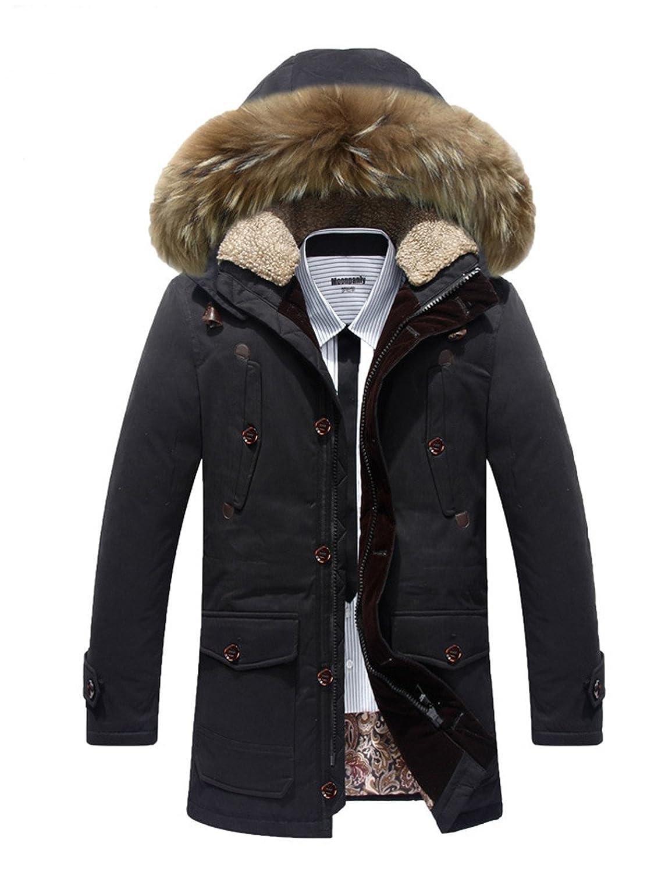BININBOX® Herren Fashion Daunenmantel Daunenjacke Parka mit Fellkapuze Wintermantel online bestellen